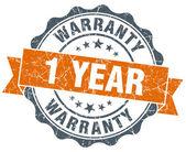 1 year warranty orange vintage seal isolated on white