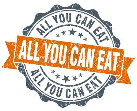 Photo pour Tout ce que vous pouvez manger orange seal vintage isolé sur blanc - image libre de droit