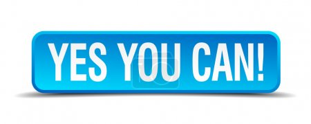 Yes you can blue 3d realistic square isolated button