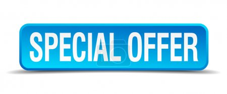 Illustration for Special offer blue 3d realistic square isolated button - Royalty Free Image
