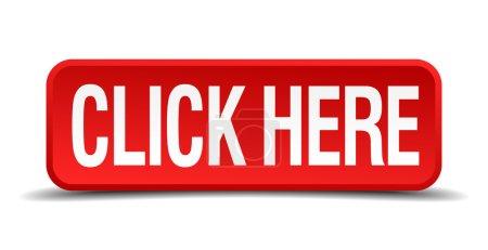 Illustration pour Cliquez ici bouton carré tridimensionnel rouge isolé sur fond blanc - image libre de droit