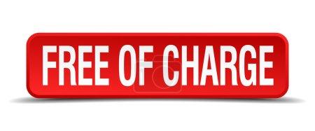 Illustration pour Gratuitement bouton carré 3d rouge isolé sur fond blanc - image libre de droit