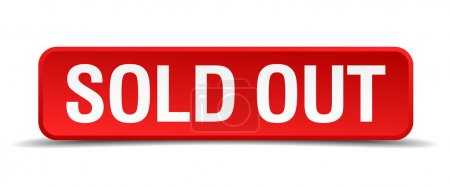 Illustration for Sold out red 3d square button isolated on white - Royalty Free Image