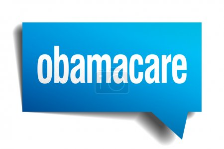 Obamacare blue 3d realistic paper speech bubble