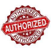 Authorized red vintage stamp isolated on white background