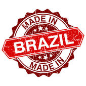 Made in Brazil red stamp isolated on white background