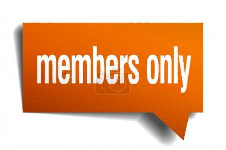 members only orange speech bubble isolated on white