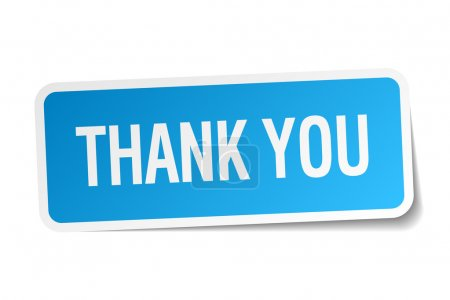 Illustration for Thank you blue square sticker isolated on white - Royalty Free Image