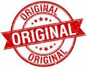 original grunge retro red isolated ribbon stamp