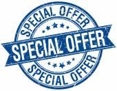 Speciální nabídka grunge retro modrá stuha izolované razítko