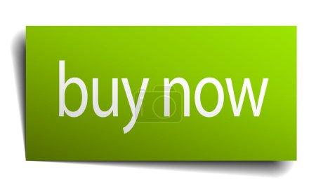 Illustration pour Acheter maintenant panneau de papier vert sur fond blanc - image libre de droit