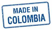 made in Colombia blue square isolated stamp