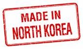 made in North Korea red square isolated stamp