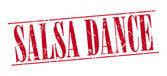 salsa dance red grunge vintage stamp isolated on white background