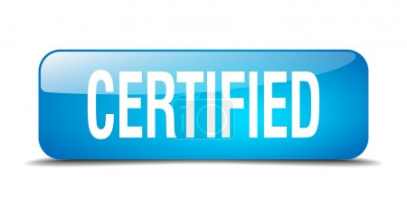 Illustration for Certified blue square 3d realistic isolated web button - Royalty Free Image