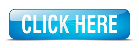 Click here blue square 3d realistic isolated web button