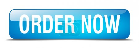 Illustration for Order now blue square 3d realistic isolated web button - Royalty Free Image