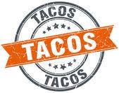 tacos round orange grungy vintage isolated stamp