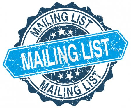 mailing list blue round grunge stamp on white