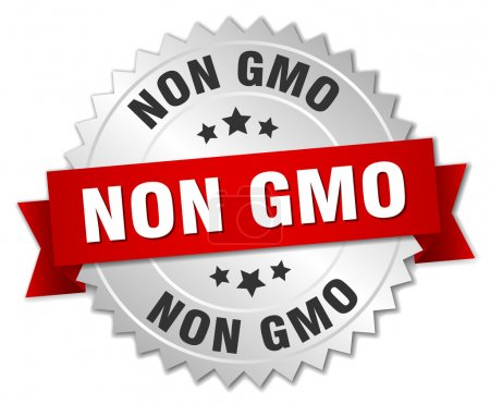 non gmo 3d silver badge with red ribbon
