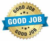 good job 3d gold badge with blue ribbon