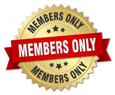 members only 3d gold badge with red ribbon