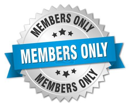 membres uniquement badge argent 3d avec ruban bleu