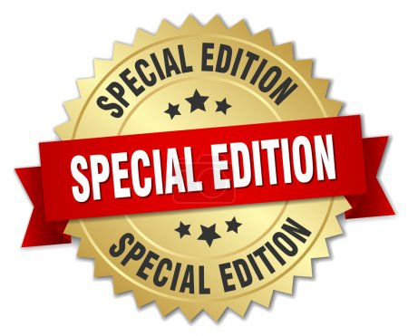special edition 3d gold badge with red ribbon