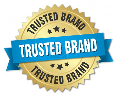 Illustration for Trusted brand 3d gold badge with blue ribbon - Royalty Free Image