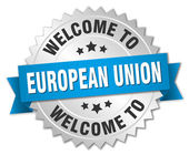 European union 3d silver badge with blue ribbon
