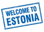Estonia blue square grunge welcome isolated stamp