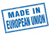 European union blue square grunge made in stamp