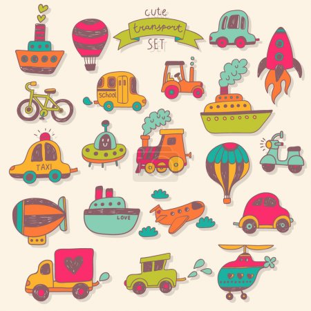 Photo pour Ensemble de voyage avec des voitures rétro, des ballons pneumatiques, des navires, des vélos, des hélicoptères, des ufo et des trains. Ensemble vintage graphique dans le style dessin animé - image libre de droit