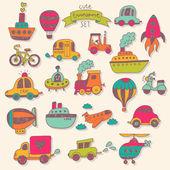 Transportation icons color set