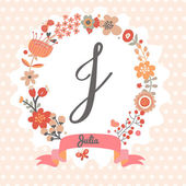 Floral wreath with letter J