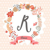 Floral wreath with letter R