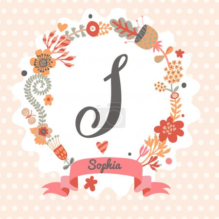 Floral wreath with letter S