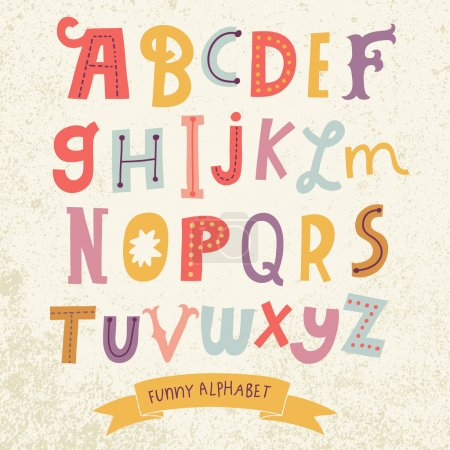 Bright alphabet set in vector. Stylish letters in ...