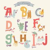 Cute zoo alphabet in vector A b c d e f g h i j letters Funny cartoon animals Alligator bear cat dog elephant fox giraffe hippo iguana jellyfish in bright colors