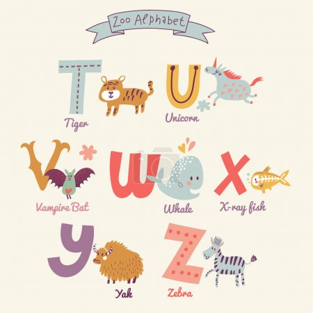 Cute zoo alphabet letters