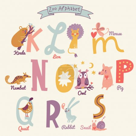 Cute zoo alphabet letters