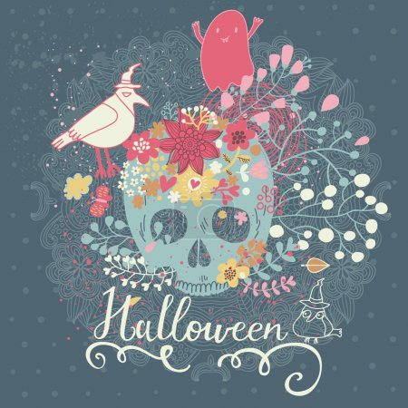 Halloween card with skull and flowers