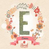 Stylish floral letter E