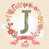 Stylish floral letter J