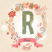 Stylish floral letter R