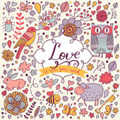 romantic card with flowers and animals