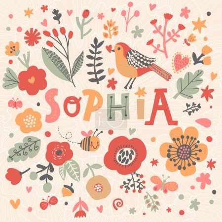 beautiful floral card with name Sophia