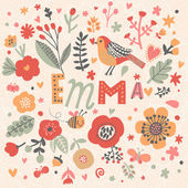 beautiful floral card with name Emma