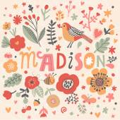 beautiful floral card with name Madison