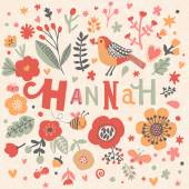 beautiful floral card with name Hannah